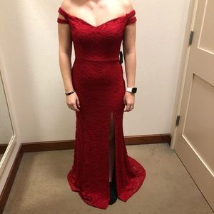 Red lace formal dress